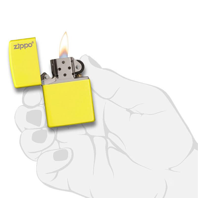 Isqueiro Zippo 28887ZL Classic Zippo Logo Amarelo Neon