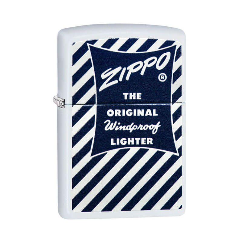 Isqueiro Zippo 29413 Classic Blue & White Branco Fosco