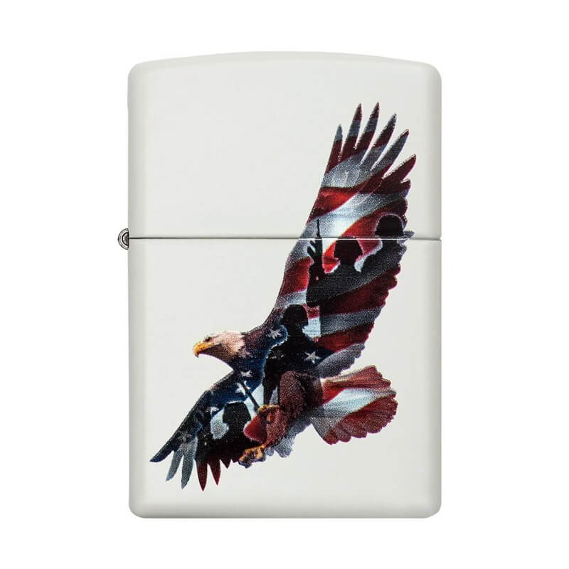 Isqueiro Zippo 29418 Classic Soaring Eagle Branco Fosco