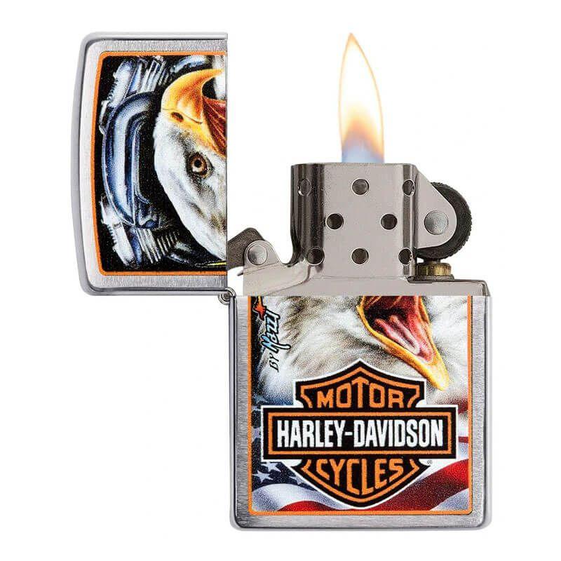 Isqueiro Zippo 29499 Classic Cromado Harley-Davidson® Mazzi Eagle Escovado