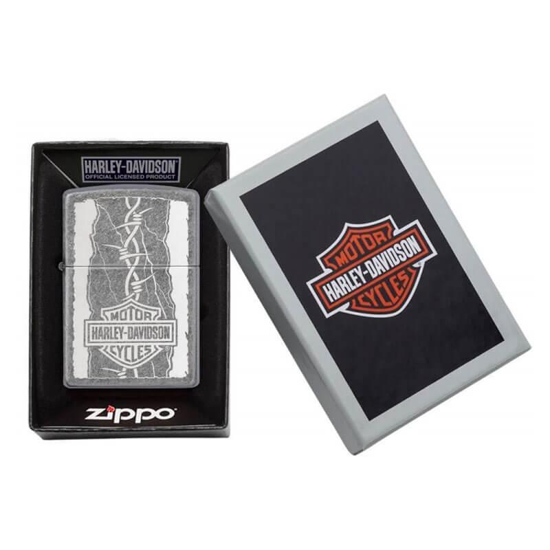 Isqueiro Zippo 29560 Classic Harley-Davidson® Arame Farpado Prata Antiga