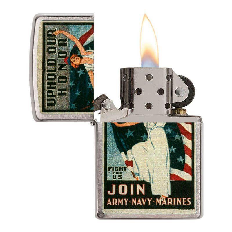 Isqueiro Zippo 29599 Classic Cromado U.S Army® - Navy® - Marines Vintage Poster Escovado