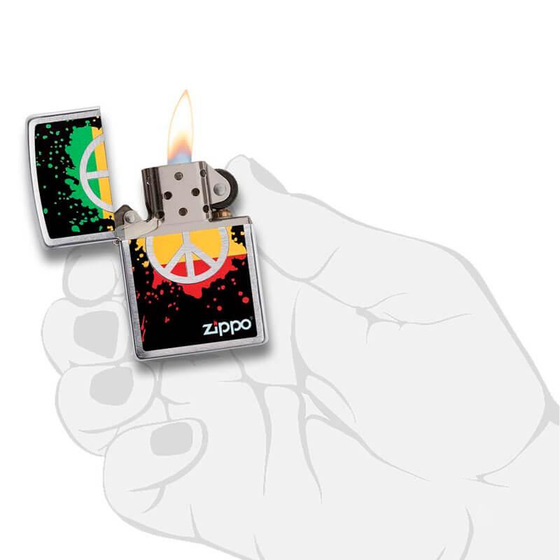 Isqueiro Zippo 29606 Classic Cromado Peace & Paint Splatter Escovado