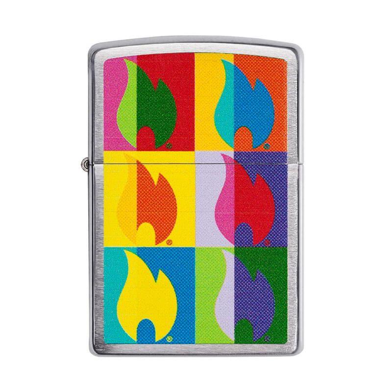 Isqueiro Zippo 29623 Classic Cromado Abstract Flame Escovado
