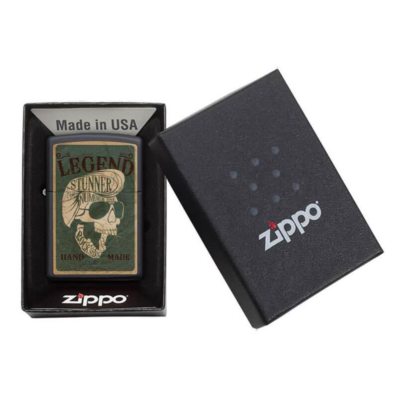 Isqueiro Zippo 29630 Classic Caveira Legendary Rockstar Preto Fosco