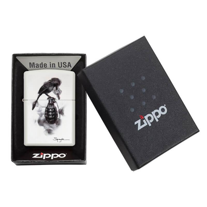 Isqueiro Zippo 29645 Classic Spazuk Bird on Grenade Branco Fosco