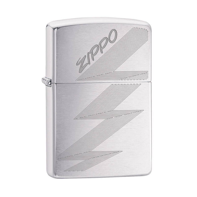 Isqueiro Zippo 29683 Classic Cromado Zippo Logo Zig-Zag Escovado