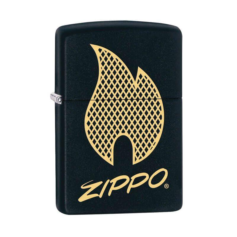 Isqueiro Zippo 29686 Classic Gold & Black Flame Design Preto Fosco