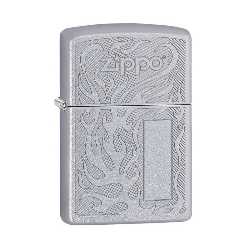 Isqueiro Zippo 29698 Classic Cromado Flame Logo Design Satin