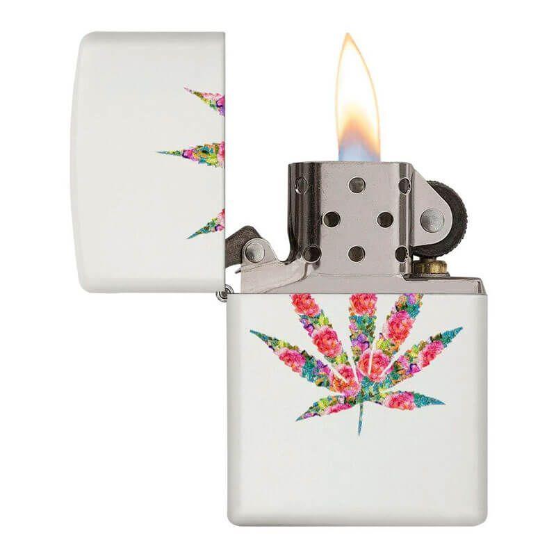 Isqueiro Zippo 29730 Classic Floral Marijuana Leaf Branco Fosco