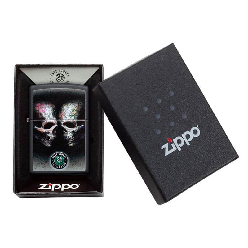 Isqueiro Zippo 29754 Classic Anne Stokes Floral Skulls Preto Fosco