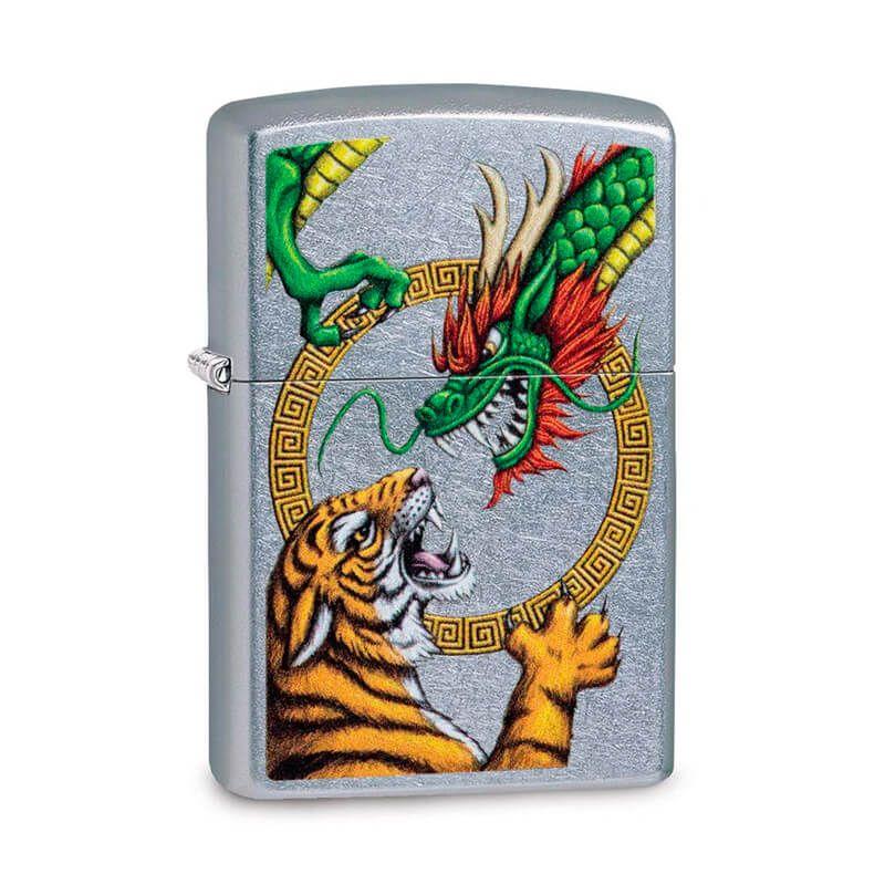 Isqueiro Zippo 29837 Classic Cromado Dragon VS Tiger Street