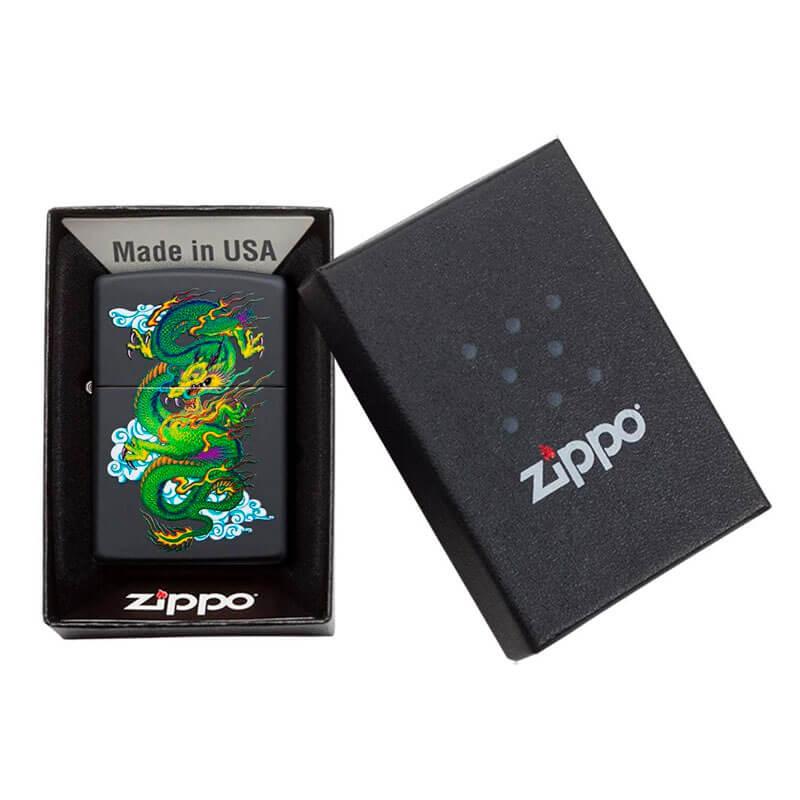 Isqueiro Zippo 29839 Classic Asian Dragon Preto Fosco