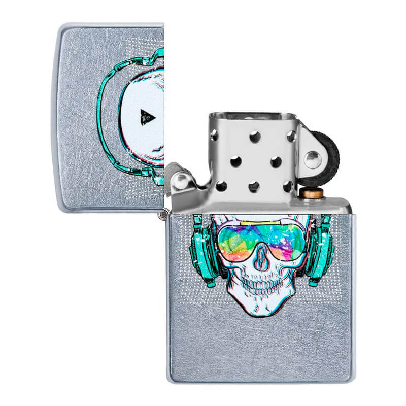 Isqueiro Zippo 29855 Classic Cromado Skull Headphone Street Chrome™
