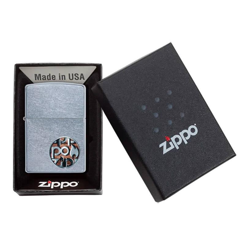 Isqueiro Zippo 29872 Classic Cromado Zippo Button Logo Street