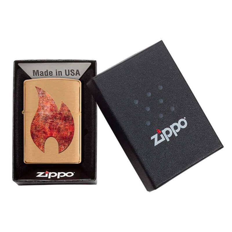 Isqueiro Zippo 29878 Classic Latão Rusty Flame Escovado