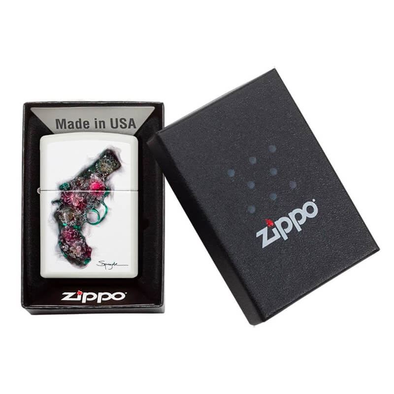 Isqueiro Zippo 29894 Classic Spazuk Flower Gun Branco Fosco