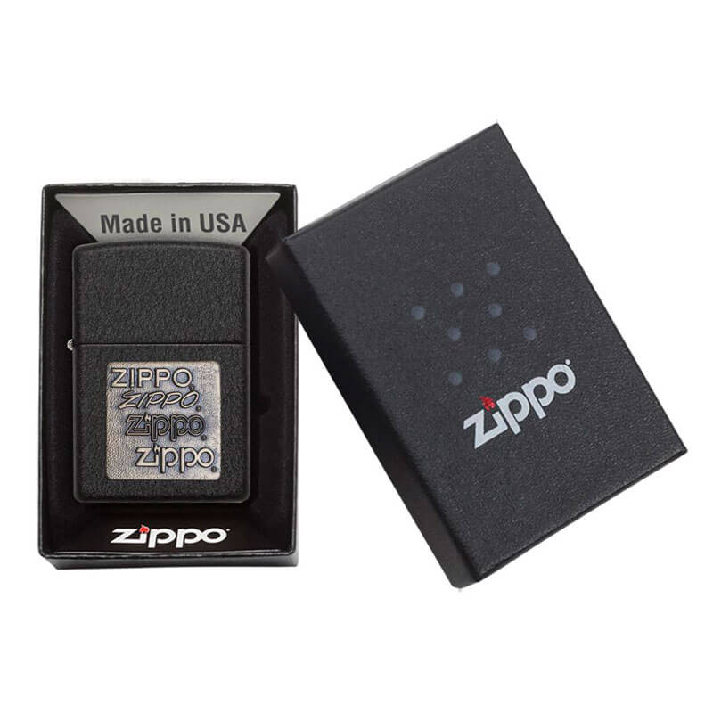 Isqueiro Zippo 362 Classic Gold Zippo Logo Black Crackle™