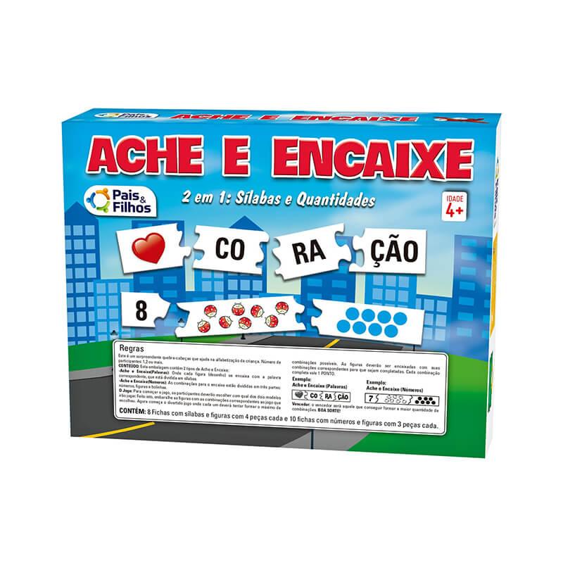 Jogo 2 em 1 Ache e Encaixe + Sílabas e Quantidades   Pais & Filhos