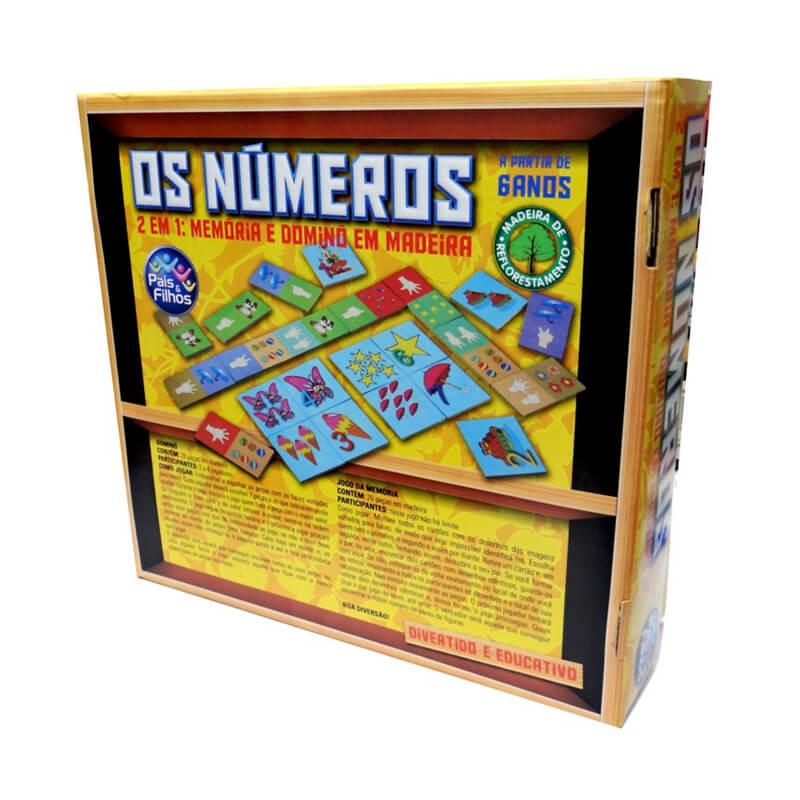 Jogo Os Números em Madeira: 2 em 1 Memória + Dominó | Pais & Filhos