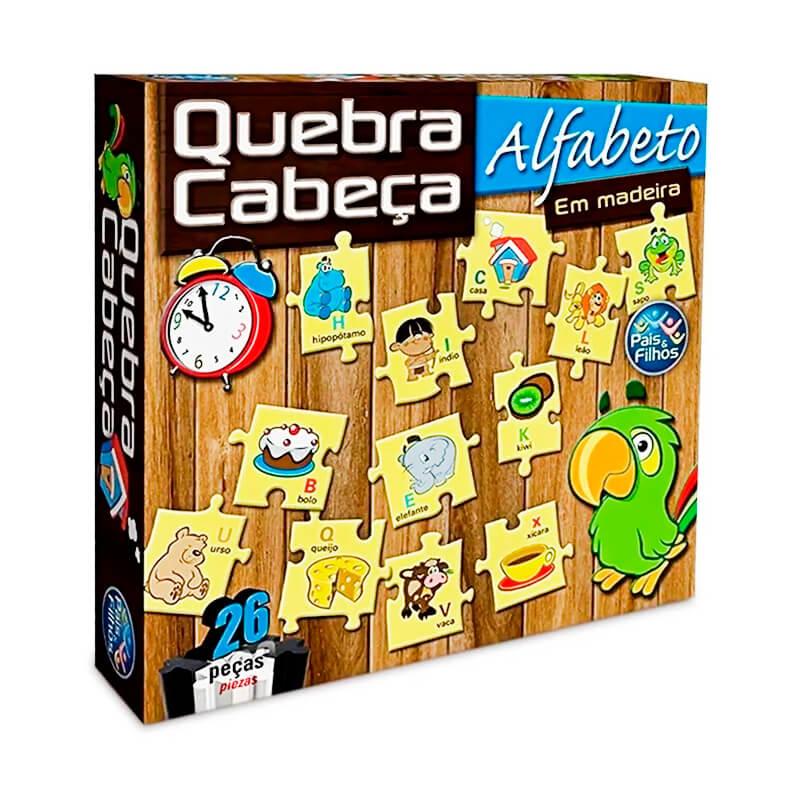 Jogo Quebra-Cabeça em Madeira: Alfabeto - 26 Peças | Pais & Filhos