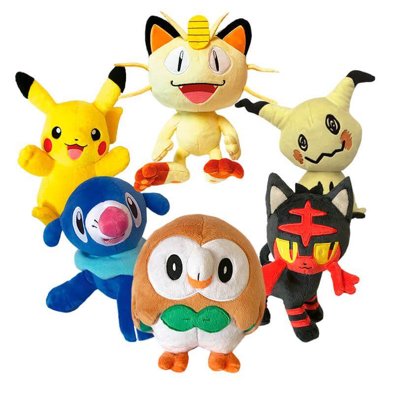 "Pelúcias Pokémon 8"" - Rowlet + Litten + Popplio + Pikachu + Meowth + Mimikyu | WCT/DTC"