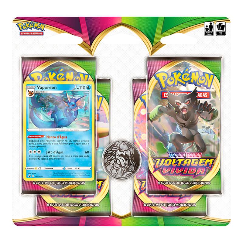 Pokémon TCG: 2 Quad Pack SWSH4 Voltagem Vívida - Sobble + Vaporeon