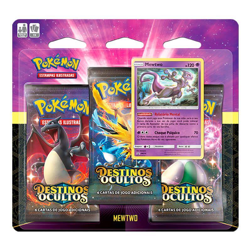 Pokémon TCG: 2 Triple Pack SM11.5 Destinos Ocultos - Mewtwo e Mew