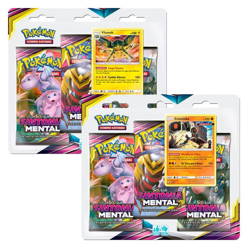 Pokémon TCG: 2 Triple Pack SM11 Sintonia Mental - Vikavolt e Stakataka