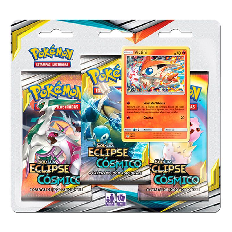 Pokémon TCG: 2 Triple Pack SM12 Eclipse Cósmico - Victini e Celebi