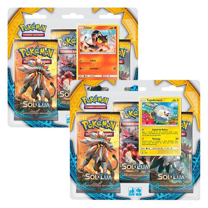 Pokémon TCG: 2 Triple Pack SM1 Sol e Lua - Litten e Togedemaru
