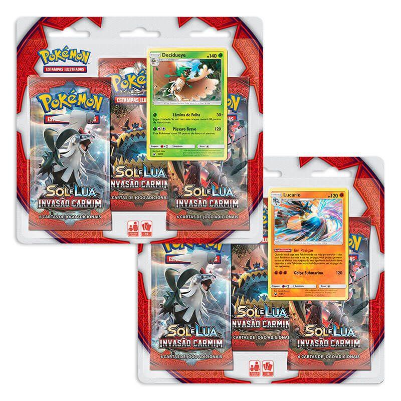 Pokémon TCG: 2 Triple Pack SM4 Invasão Carmim - Decidueye e Lucario