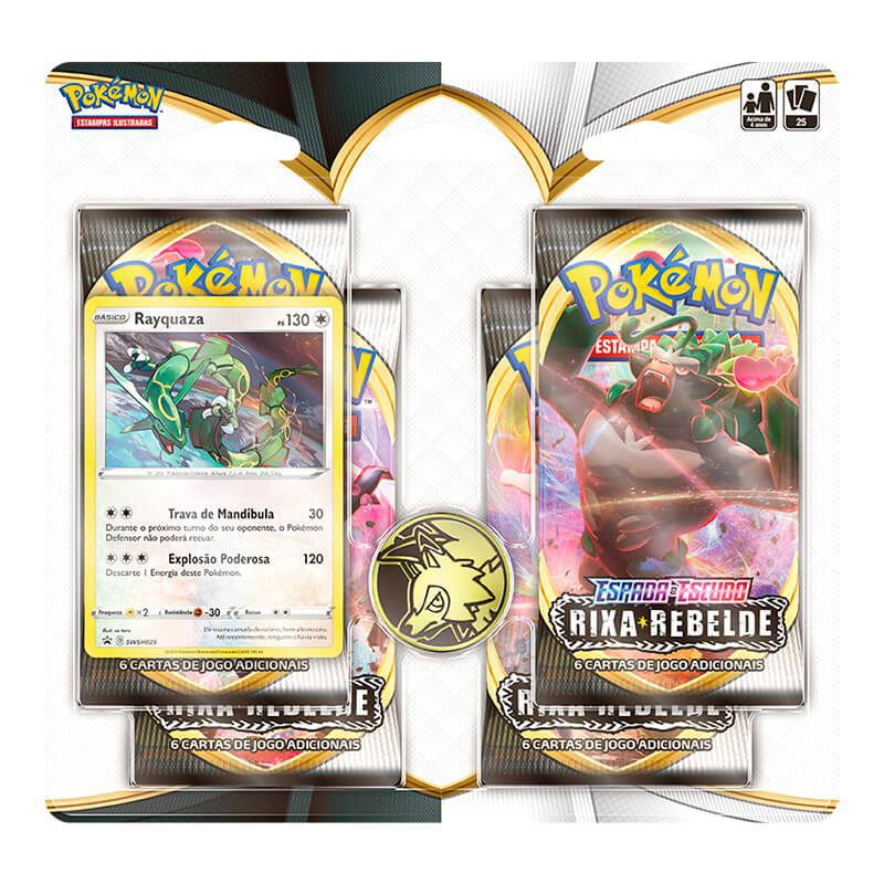 Pokémon TCG: 2 Triple Pack SWSH2 Rixa Rebelde - Mantine e Noctowl + 2 Quad Pack SWSH2 Rixa Rebelde - Duraludon e Rayquaza