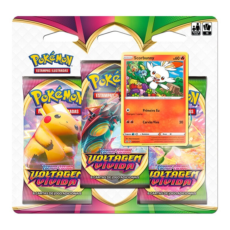 Pokémon TCG: 2 Triple Pack SWSH4 Voltagem Vívida - Grookey + Scorbunny