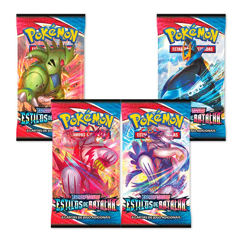 Pokémon TCG: 2 Triple Pack SWSH5 Estiloas de Batalha - Charmander + Arrokuda + 2 Quad Pack SWSH5 Estilos de Batalha - Jolteon + Eevee