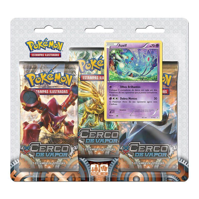 Pokémon TCG: 2 Triple Pack XY11 Cerco de Vapor - Azelf e Rayquaza