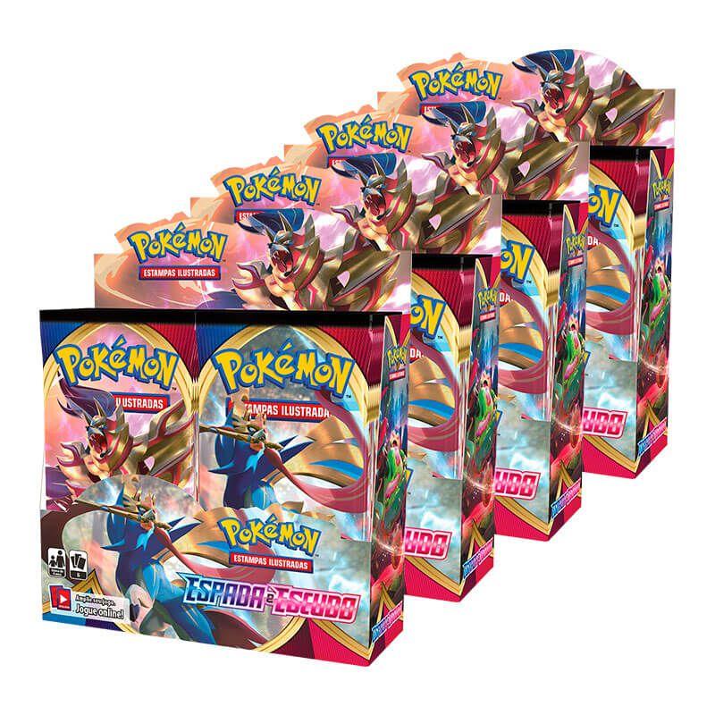 Pokémon TCG: 4x Booster Box (144 pacotes) SWSH1 Espada e Escudo