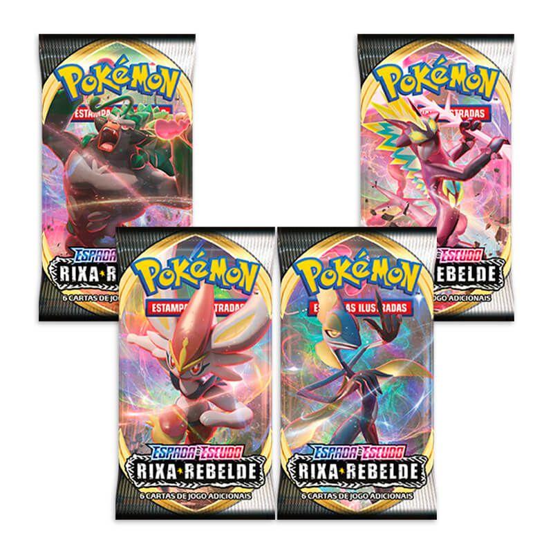 Pokémon TCG: 4x Booster Box (144 pacotes) SWSH2 Rixa Rebelde
