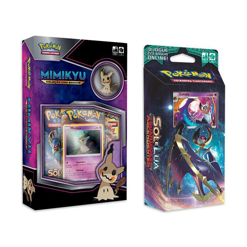 Pokémon TCG: Box Coleção Com Broche - Mimikyu + Deck SM2 Guardiões Ascendentes - Lua Oculta