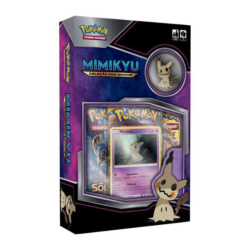 Pokémon TCG: Box Coleção com Miniatura SM3.5 Lendas Luminescentes - Darkrai-GX Brilhante + Coleção com Broche - Mimikyu