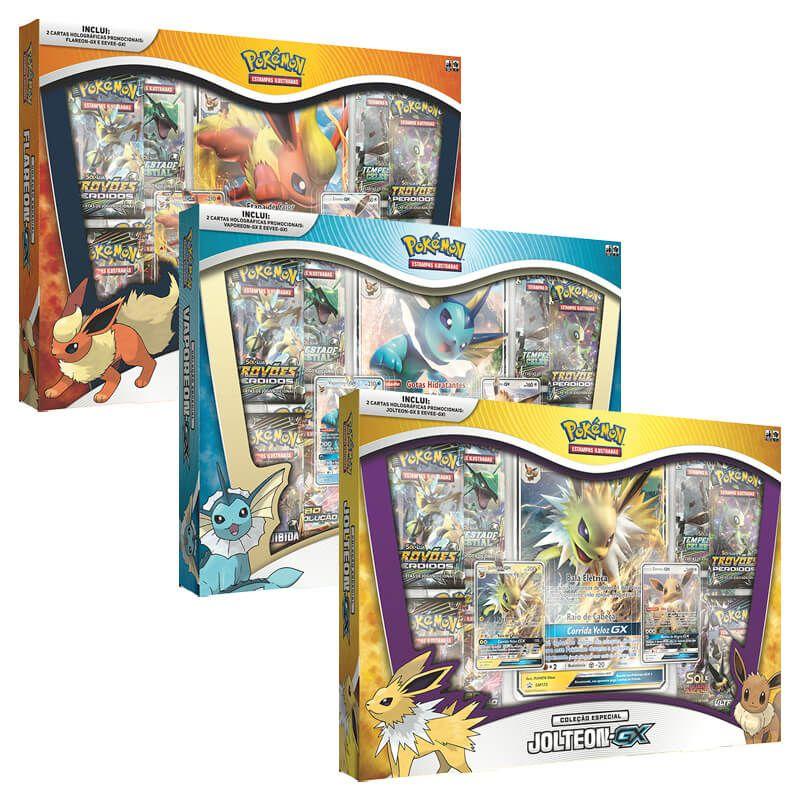 Pokémon TCG: Box Coleção Especial Flareon-GX + Vaporeon-GX + Jolteon-GX
