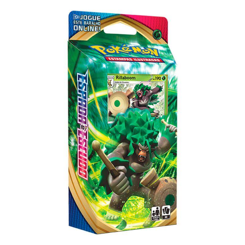 Pokémon TCG: Box Coleção Galar Grookey - Zacian V + Deck SWSH1 Espada e Escudo - Baralho Temático Rillaboom
