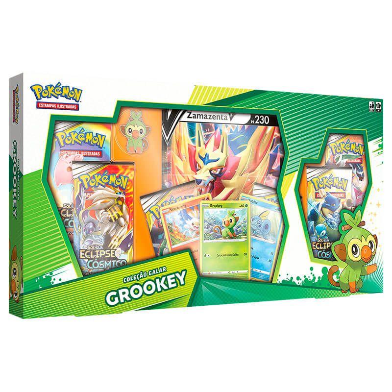 Pokémon TCG: Box Coleção Galar Grookey - Zamazenta V + Deck SWSH1 Espada e Escudo - Baralho Temático Rillaboom
