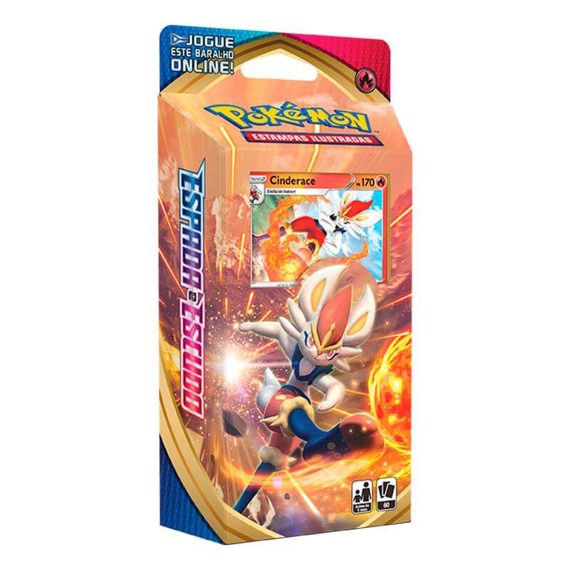 Pokémon TCG: Box Coleção Galar Scorbunny - Zacian V + Deck SWSH1 Espada e Escudo - Baralho Temático Cinderace