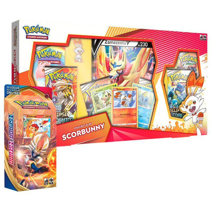 Pokémon TCG: Box Coleção Galar Scorbunny - Zamazenta V + Deck SWSH1 Espada e Escudo - Baralho Temático Cinderace