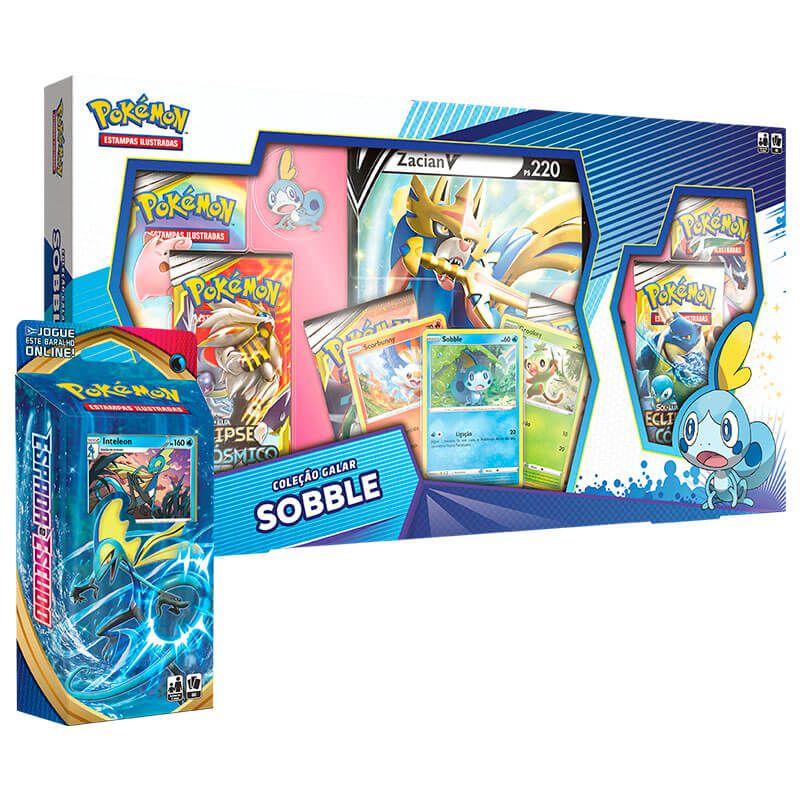 Pokémon TCG: Box Coleção Galar Sobble - Zacian V + Deck SWSH1 Espada e Escudo - Baralho Temático Inteleon