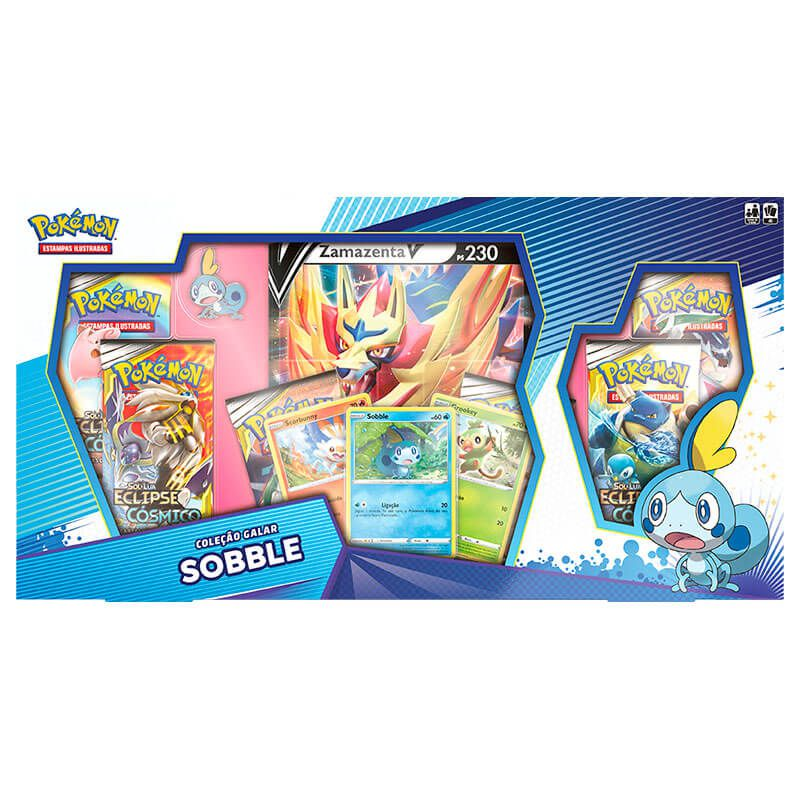 Pokémon TCG: Box Coleção Galar Sobble - Zamazenta V + Deck SWSH1 Espada e Escudo - Baralho Temático Inteleon