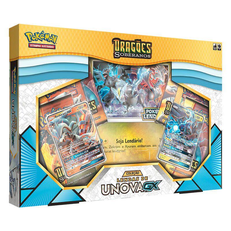 Pokémon TCG: Box Coleção Lendas de Unova GX + Salamence-GX + Kyurem Branco-GX SM7.5 Dragões Soberanos
