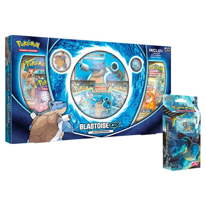 Pokémon TCG: Box Coleção Premium Blastoise-GX + Deck SM9 Canhão Torrencial