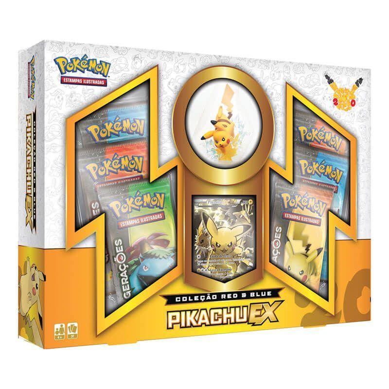 Pokémon TCG: Box Coleção Red & Blue - Pikachu EX + Deck SM1 Sol e Lua - Sombra Florestal e Maré Brilhante